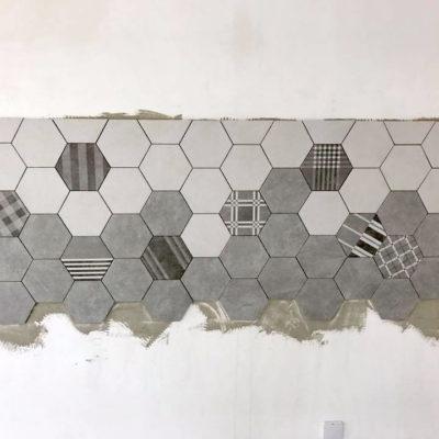 Fliesenspiegel Küche Sechseck